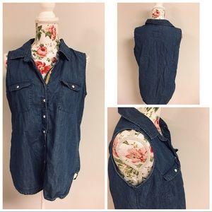🌹Girl Krazy Boyfriend Fit Blue Jean Button Up